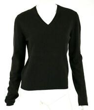 PRADA Dark Espresso Brown Pure Cashmere V-Neck Pullover Sweater 44