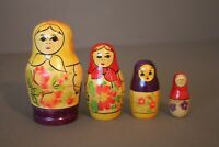 VINTAGE 4 WOOD RUSSIAN STACKING NESTING DOLLS MARKED MADE IS USSR