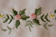 Rosebud Embroidered Cutwork Fabric Placemat Table Runner Wedding Party Banquet