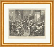 Wiener Bilder: Im Kaffeehaus der Taubstummen Grögler Gebärden Holzstich E 14174