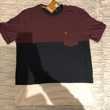 Farah Panel T-shirt - Bordeaux, Navy, White - Size Small - New