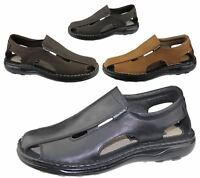 Mens Slip On Sandals Casual Beach Fashion Casual Walking Leather Wide Fit Shoes