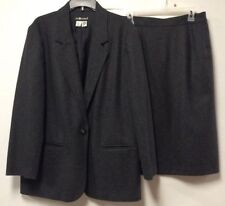 Womens Pure Wool Skirt Suit Size 16 Gray Lined One Button Jacket Sag Harbor 198