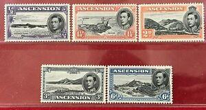 ASCENSION ISLANDS Sc#40,42,43,44a,45a 1937 King George VI Mint NH OG VF(9-250)