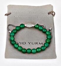 David Yurman Green Onyx & Sterling Silver Spiritual bead Bracelet Adjustable