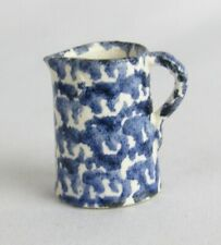 CNC Artist Carolyn Nygren Curran 1:12 Vintage Pottery Blue Spongeware Pitcher