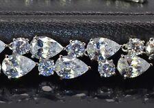 14k White Gold GF Necklace made w Swarovski Crystal Clear Stone Bridal Jewelry