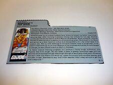 GI JOE TOPSIDE FILE CARD Vintage Action Figure GREAT SHAPE 1990