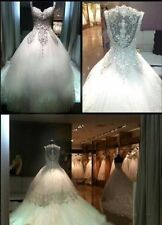 New Sweetheart Wedding Dress Beaded Crystal Bridal Gown Custom Size 4 6 8 10 12+