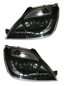 Ford Fiesta Mk6 Mk6.5 02-08 all models Black Projector DRL R8 Headlights