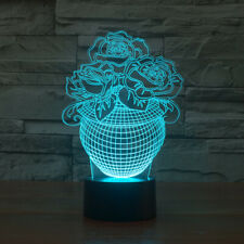 Flower vase rose 3D light led 7 color desk touch night light lamp home decor