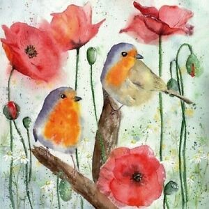 4 x Single Paper Napkins/3-Ply/33cm/Decoupage/Flowers/Birds/Robins with Poppies