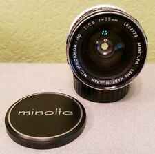 MINOLTA MC W.Rokkor-HG 35mm f/2.8 Manual Wide Lens w/ Cap & Cover