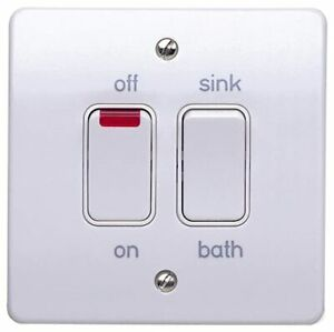New MK Dual Immersion Switch K5207 WHI Double Pole With Neon Sink Bath Sale