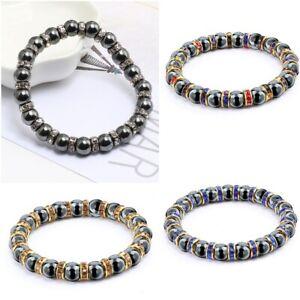 Natural Hematite Stone Rhinestone Bracelet Beads Lucky Crystal 6mm Women