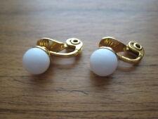 MONET GOLD TONE & WHITE CLIP EARRINGS