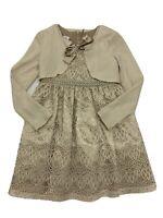 Bonnie Jean Girls 6x Beige Lace Dress & Cardigan Pearls Dressy Flower Girl Knee