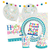 CONFETTI CAKE Birthday Party Range - Tableware Supplies Balloons & Decorations