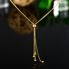 Sevil 18K Gold Plated Sterling Silver Drop Double Chain Necklace