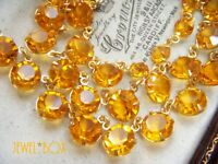 VINTAGE ART DECO BEAUTIFUL OPEN BACK CITRINE CRYSTAL BEZEL NECKLACE SPECIAL GIFT
