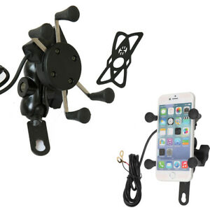 Universal Motorcycle X Grip Clamp Motorbike Mobile Phone Holder USB Fast Charge