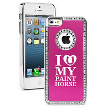 For iPhone 4 5 5s 5c 6 6s Plus Rhinestone Bling Case Cover I Love My Paint Horse