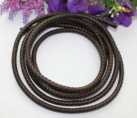 3 Meters of 8mm Brown Braided Bolo Leather Cord #22514