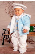 Abito da battesimo vestito cappottino velluto bianco celeste tg 2-4 mesi cod 317