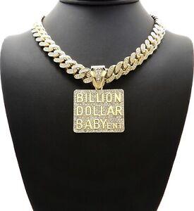 DA BILLION DOLLAR BABY ENT DIAMOND GOLD CUBAN LINK CHAIN NECKLACE HIP HOP ICED