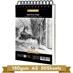 Sketch Book Drawing Pad A5*50 Sheets 180GSM Spiral Bound Sketch Pad -PENCILMARCH