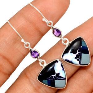 Surfite Surfboard & Amethyst 925 Sterling Silver Earrings Jewelry BE41605