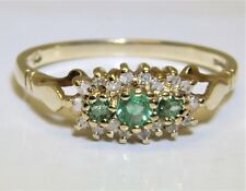 9CT EMERALD 0.1CT DIAMOND 3  STONE CLUSTER  RING 9 CARAT YELLOW GOLD SIZE O