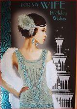 Art Deco Anni '20 Donna ~ Moglie Biglietto Di Auguri Compleanno