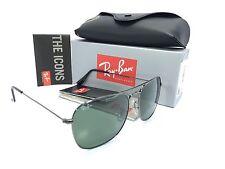 HOT! NEW !Ray Ban RB3136 Caravan Gun Metal Frame/Crystal Green 58mm Sunglasses