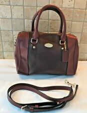 COACH Mini Bennett Barrel Bag Bicolor Metallic Crossgrain Leather Oxblood