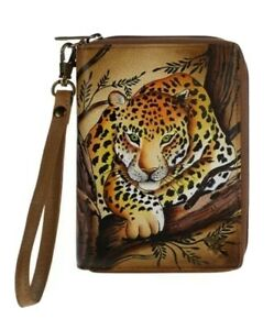 Anuschka Hand-Painted Leather Organizer Wallet-African Leopard Tan-NWT-Orig.$99