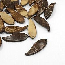 20 pcs Handmade Coffee Tone Coconut Leaf Pendants Jewellery Making DIY Nut Beads