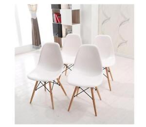 Set di 4 sedie con gambe in legno sedie da pranzo nordici bianco