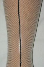 Natural Ivory Fishnet Tights. Black Back Seams. dancer seamed 10-14 flesh