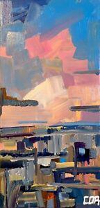 IMPRESSIONIST WESTERN PAINTING SUNSET LANDSCAPE ORIGINAL CANVAS FINE ART DECOR