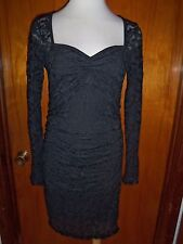 Victoria's Secret Moda International Sweetheart Neck Lace Ruched Dress L New
