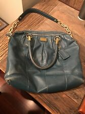 Coach Teal Leather Kristin Satchel Purse Shoulder Hand Bag F15339