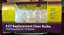 Light Keeper Pro Transparent Clear C7 Replacement Bulbs 120V 5W 60Hz Ac 4-Count
