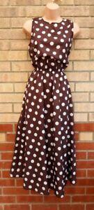 BROWN CHOCOLATE WHITE POLKA DOT SPOTTED A LINE FLIPPY MIDI SLEEVELESS DRESS 12 M