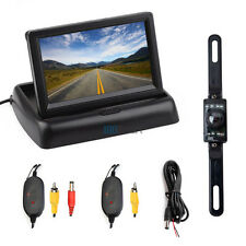 "4.3"" Foldable TFT LCD Monitor 2.4Ghz Wireless Car Reverse Back Up IR Camera Kit"