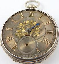 Quadrante argento anticato Fusee Pocket Watch Forces 1871 NON FUNZIONANTE PER RICAMBI e riparazioni.