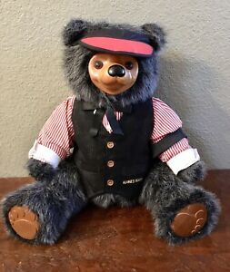 "Vintage Original Robert Raikes MAX The Poker Dealer Bear 16"" Numbered Bear."