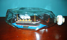 "INCREDIBLE SIGNED 1995 Ship in a Bottle RMS TITANIC Big 9 1/2"" Long DIAMOND BOT."