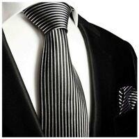 Krawatten Set 2tlg schwarz weiß Seidenkrawatte + Einstecktuch Paul Malone 408