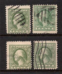 Scott #s 525, used, 1¢ Washington, Offset Printing, Gray Green Shades, Set 11